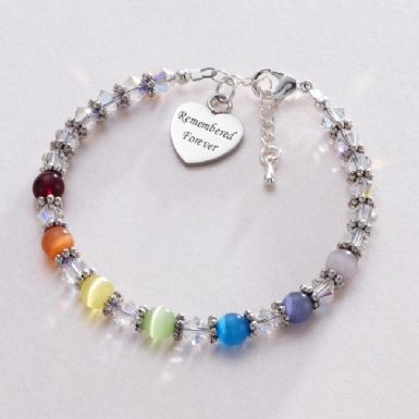 Rainbow Bereavement Bracelet with Engraving | Someone Remembered